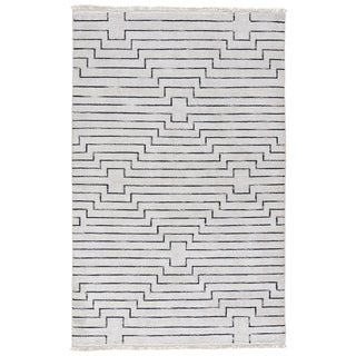 Zolin Handmade Geometric White/ Black Area Rug (5' X 8')