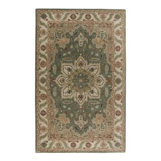 Classic Oriental Pattern Green/ Neutral Wool Area Rug (5' x 8')