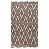 Valdez Handmade Geometric Brown/ White Area Rug - 5' x 8'
