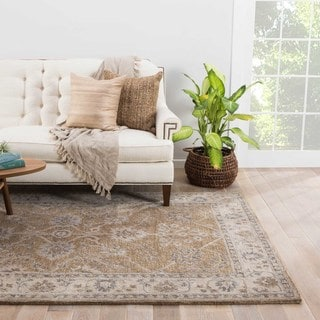 Classic Oriental Pattern Neutral/ Grey Wool Area Rug (5' x 8')