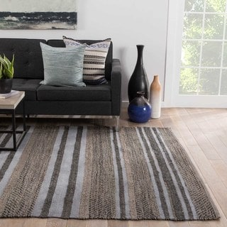 Rift Natural Stripe Gray/ Black Area Rug (5' X 8')