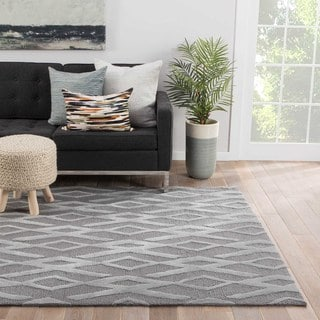 Contemporary Geometric Pattern Grey/ Silver Polyester Area Rug (5 x 7'6)