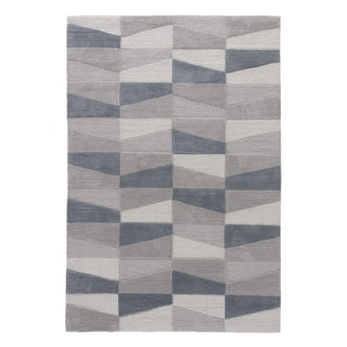 Youth Geometric Pattern Grey/ Blue Polyester Area Rug (5 x 7'6)