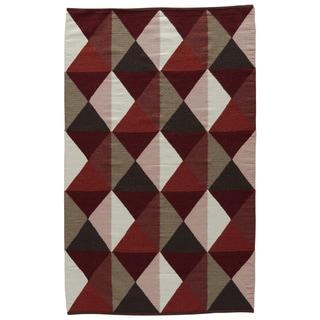 Aldrich Handmade Geometric Red/ Tan Area Rug (5' X 8') - 5' x 8'
