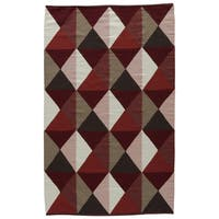 Aldrich Handmade Geometric Red/ Tan Area Rug (5' X 8') - 5' x 8'