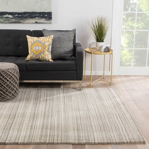 Connery Handmade Stripe Beige/ Brown Area Rug (5' X 8') - 5'x8'