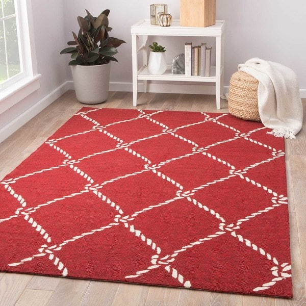 Angler Indoor Outdoor Trellis Red White Area Rug 5