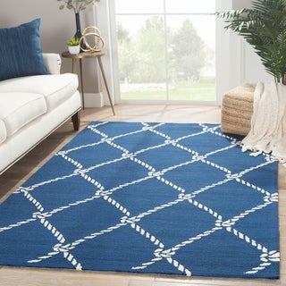 Angler Indoor/ Outdoor Trellis Blue/ White Area Rug (5' x 7'6)