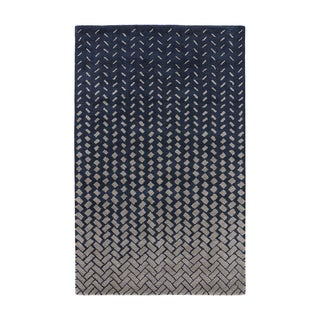Contemporary Abstract Pattern Blue/ White Wool and Viscose Area Rug (5' x 8')