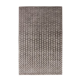 Contemporary Abstract Pattern Grey/ White Wool and Viscose Area Rug (5' x 8')
