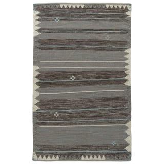 Durham Handmade Bordered Dark Gray/ Turquoise Area Rug (5' X 8')|https://ak1.ostkcdn.com/images/products/12088890/P18953467.jpg?impolicy=medium