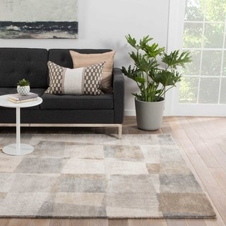 Contemporary Geometric Pattern White/ Grey Wool and Viscose Area Rug (5' x 8')