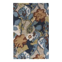 Clemente Handmade Floral Multicolor/ Taupe Area Rug (5' X 8')