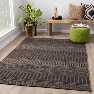 Ramble Indoor/Outdoor Stripe Black/ Gray Area Rug 5X7