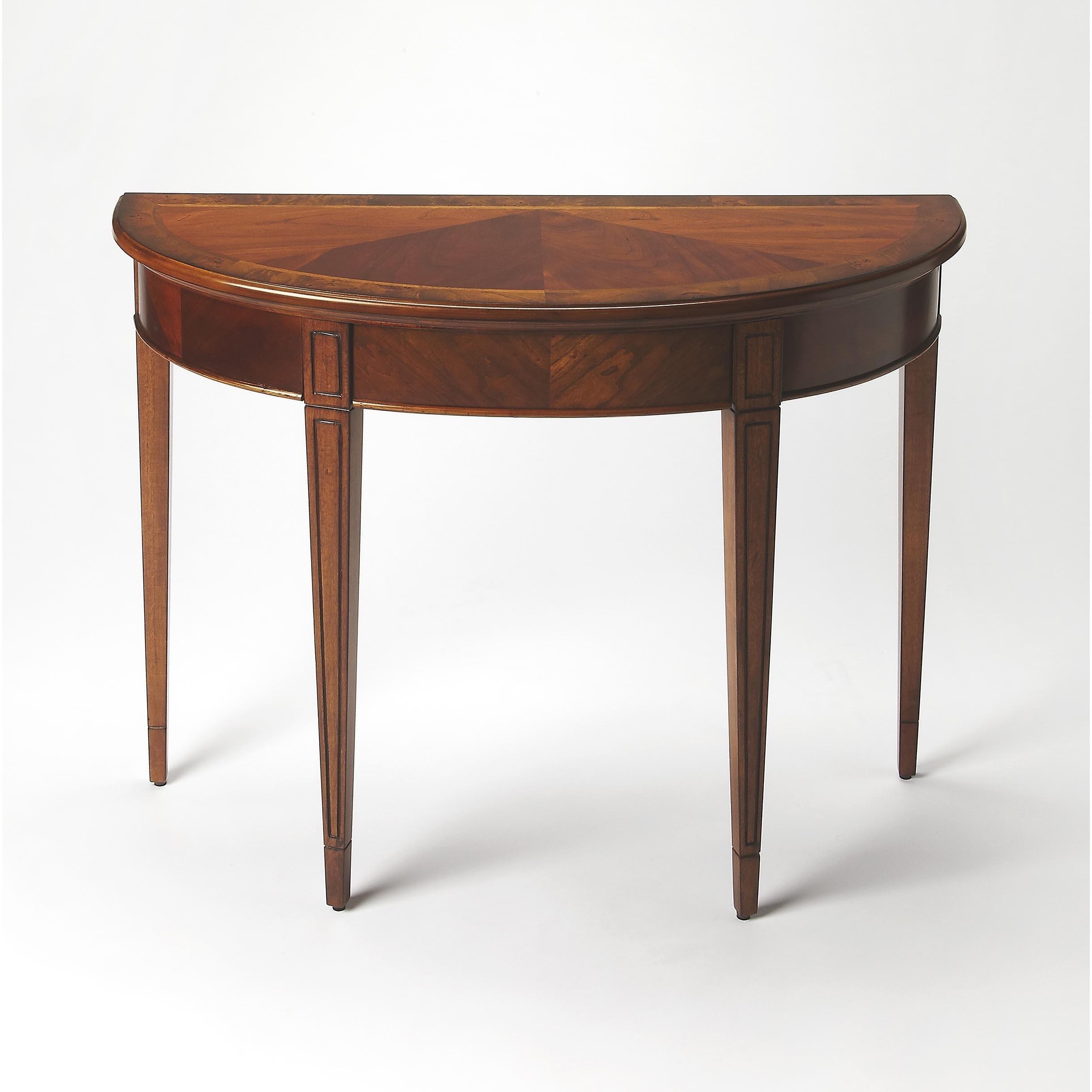 Handmade Butler Hampton Olive Ash Burl Demilune Console Table