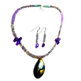 Focal Labradorite Amethyst Set Earrings