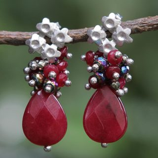 Handcrafted Brass 'Flowering Vermilion' Jade Pyrite Earrings (Brazil)