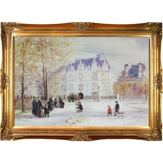 Jean Francois Raffaelli 'The Fletcher Mansion, New York City' Hand Painted Framed Canvas Art