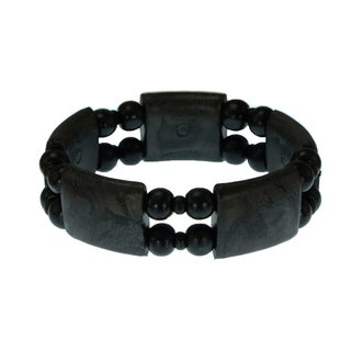 Jewelry by Dawn Black Wood Bead Stretch Bracelet