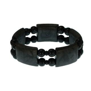 Handmade Jewelry by Dawn Black Wood Bead Stretch Bracelet (USA)