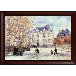 Jean Francois Raffaelli 'The Fletcher Mansion, New York City' Hand Painted Framed Canvas Art
