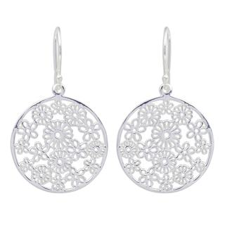 Handmade Sterling Silver 'Daisy Garden' Earrings (Thailand)