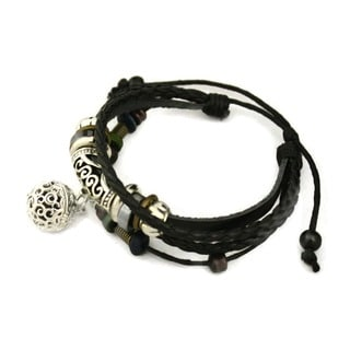 Pizzazz Black Leather Essential Oil Diffuser Bracelet