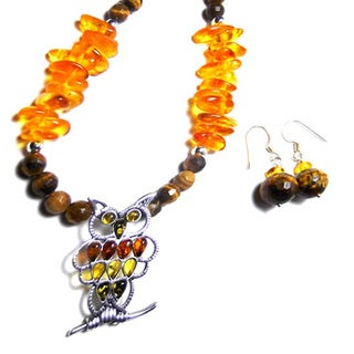 Amber Onyx Owl Earrings Set