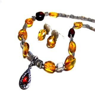 Amber and Sterling Silver Necklace and Earring Set