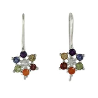 Handmade Sterling Silver 'Harmonious Nature' Multi-gemstone Earrings (India)|https://ak1.ostkcdn.com/images/products/12089019/P18953530.jpg?impolicy=medium