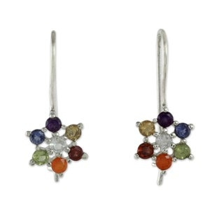 Handmade Sterling Silver 'Harmonious Nature' Multi-gemstone Earrings (India)