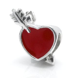 Queenberry Sterling Silver Red Enamel Heart and Arrow Valentines European Bead Charm