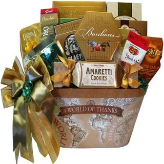 'A World of Thanks' Gourmet Food and Snacks Gift Basket - a-world-of-thanks