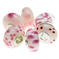 Queenberry Sterling Silver Assorted Pink Rose White Heart Love Flower Murano Bundle Glass European B