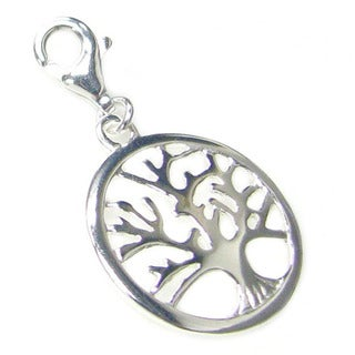 "Queenberry Sterling Silver Round ""Tree of life"" Clip-on European Charm"