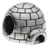 Queenberry Sterling Silver Eskimo Ice House Igloo European Bead Charm