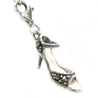 Queenberry Sterling Silver Marcasite High Heel Shoe Clip-on European Bead Charm