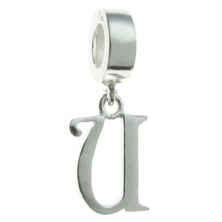 Queenberry Sterling Silver U Letter Initial Dangle European Bead Charm