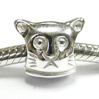 Queenberry Sterling Silver Kitty Cat European Bead Charm