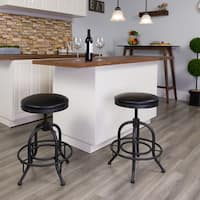 24-inch Counter Height Stool with Swivel Lift Leather Seat