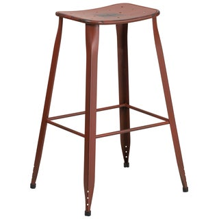 30-inch Distressed Metal Indoor-Outdoor Barstool