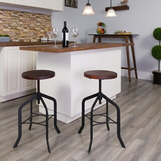 24-inch Counter Height Stool with Swivel Lift Wood Seat