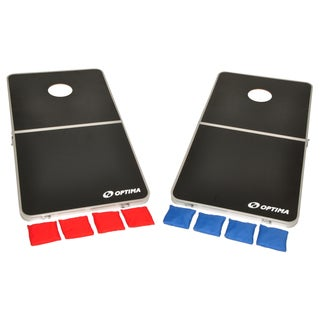 Optima CornHole Bean Bag Toss Game Set With Portable Foldable Aluminum Frame