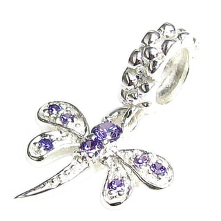 Queenberry Sterling Silver Purple Cubic Zirconia Dragonfly European Bead Charm