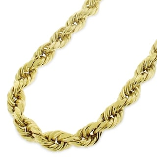 10k Yellow Gold Unisex 7-millimeter Hollow Rope Diamond-cut Chain Necklace