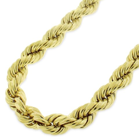 "10k Yellow Gold 8mm Hollow Rope Diamond-Cut Link Twisted Chain Necklace 26"" - 40"""