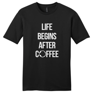 Sweetums Unisex Life Begins After Coffee Black Cotton Motivational T-shirt