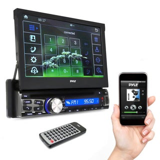Pyle PLDT87BT 7in Bluetooth Head Unit Receiver, Touch Screen, CD/DVD Player, USB/Micro SD Readers, AM/FM Radio, AUX Single DIN