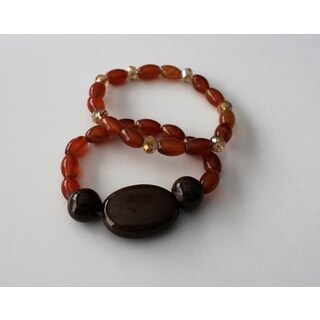 Porcelain and Agate Stretch Bracelet