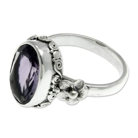 NOVICA Handmade Sterling Silver 'Frangipani Allure' Amethyst Ring (Indonesia)